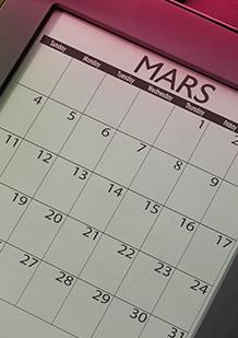 Bilde av en kalender med en dag sirklet inn med grønn farge. Informasjon om appen: o.b.®:sMenskalender.